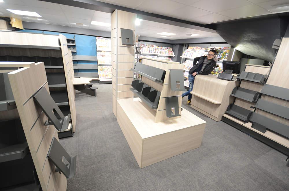 Podium librairie vue 1 - Agencement sous-sol Les Gets 74